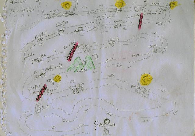 Criança refugiada no Brasil conta suas histórias através de desenhos Reprodução Enrico