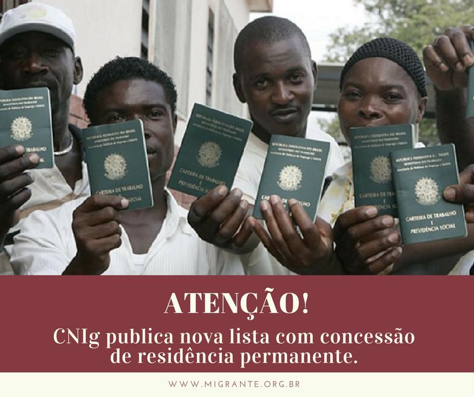 CNIg publica nova lista com concessão de residência permanente. CLIQUE AQUI para acessar a lista